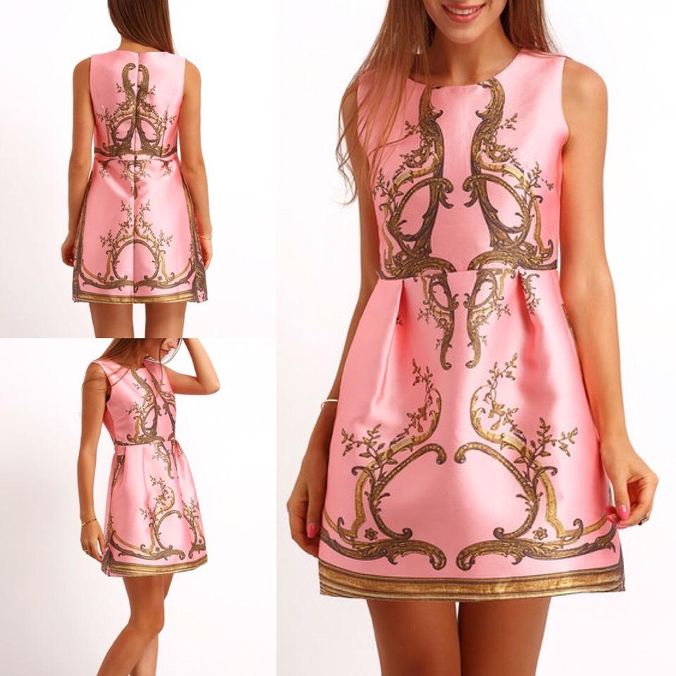 $23.00 http://m.romwe.com/Pink-Sleeveless-Branches-Print-Flare-Dress-p-150869-cat-722.html