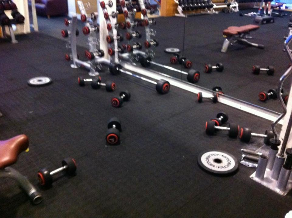 2. Clean Up Your Mess. Added tip, re-racking your weights actually burns more calories.
