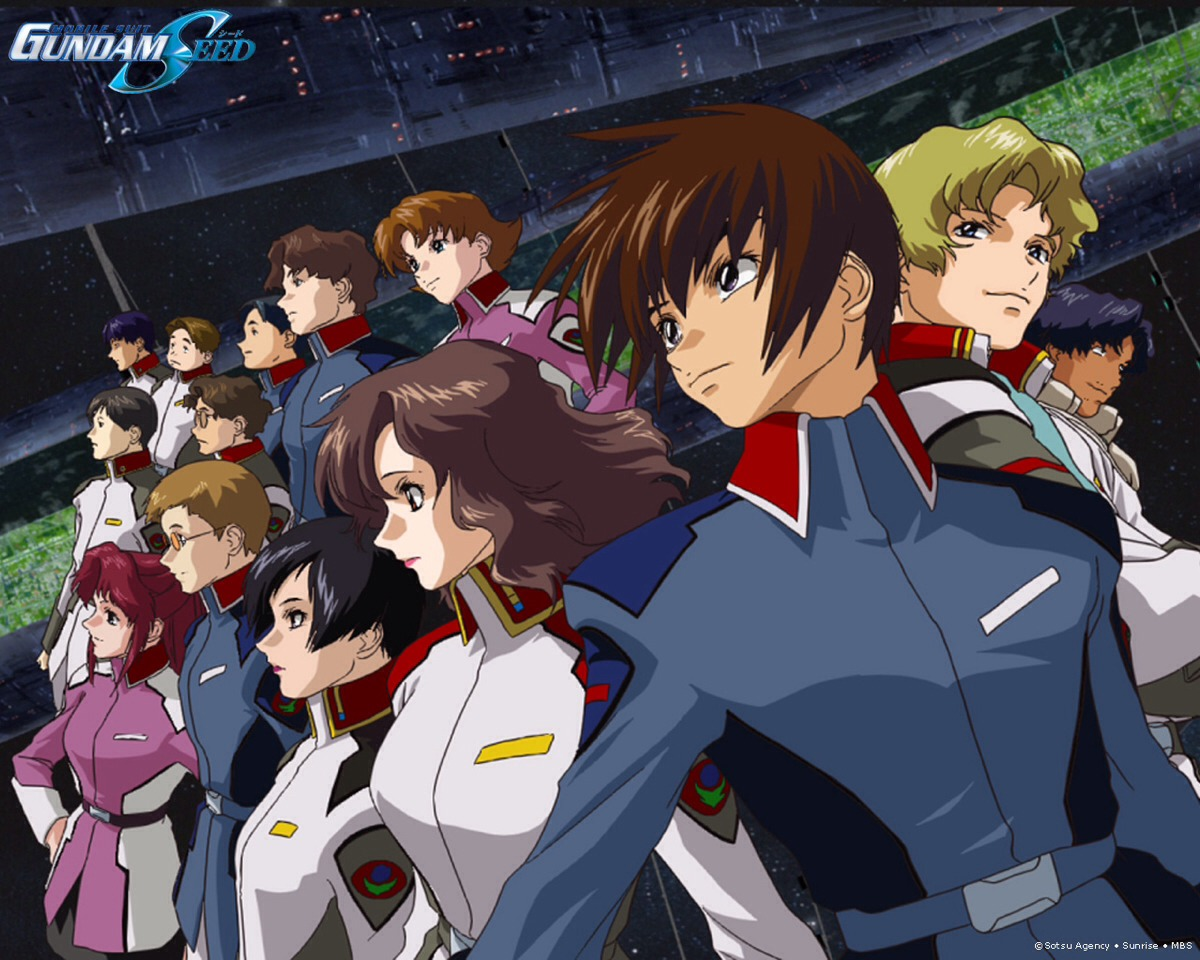 Gundam seed: people are at war in space against superior human beings. They fight in giant robots. To make it even more heart wrenching best friends are pit against each other.