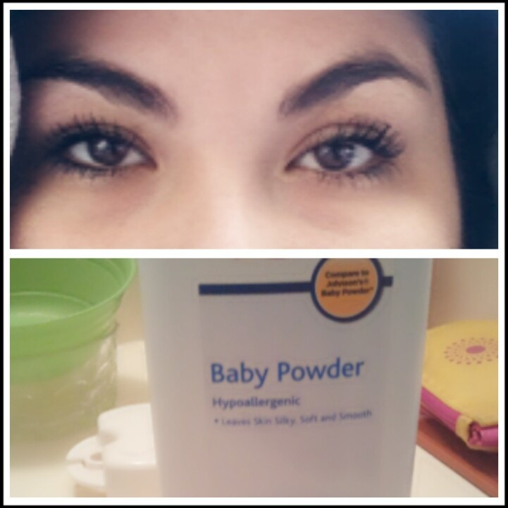 Plump up eyelashes by dusting some baby powder over them in between coats.