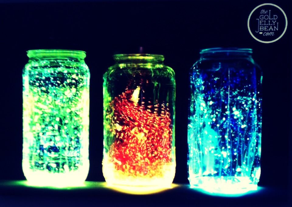 Use neon paint to dot on jars to get this look