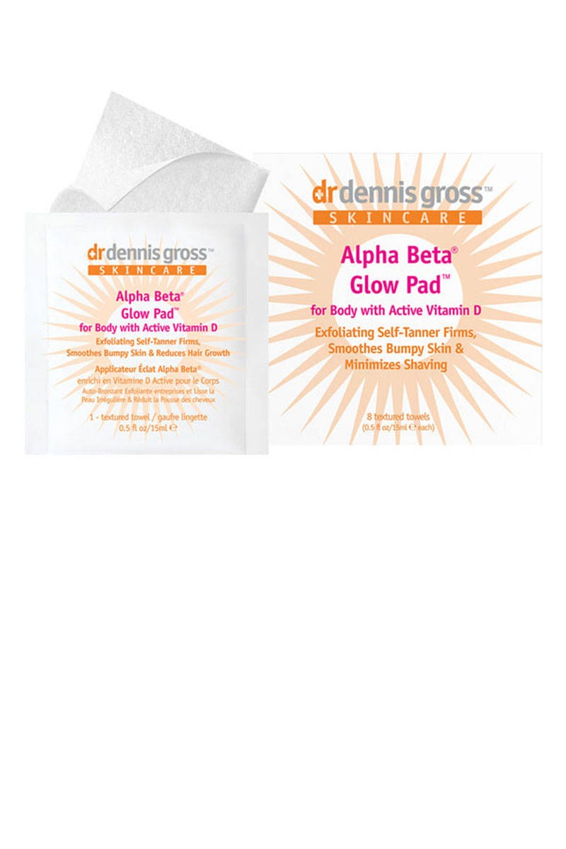 Dr. Dennis Gross Alpha Beta Glow Pad These innovative tanning wipes are packed with anti-aging vitamin D and caffeine to firm and smooth the skin, while capislow reduces the need to shave by minimizing hair growth.  $32; bliss.com