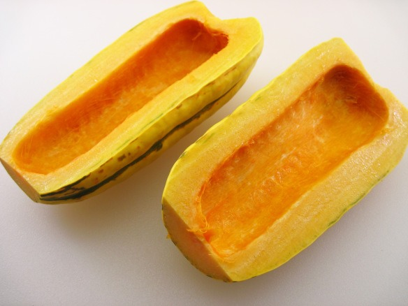 2. Cut the squash in half and remove the seeds.  3. Slice the squash halves into ½-inch slices.