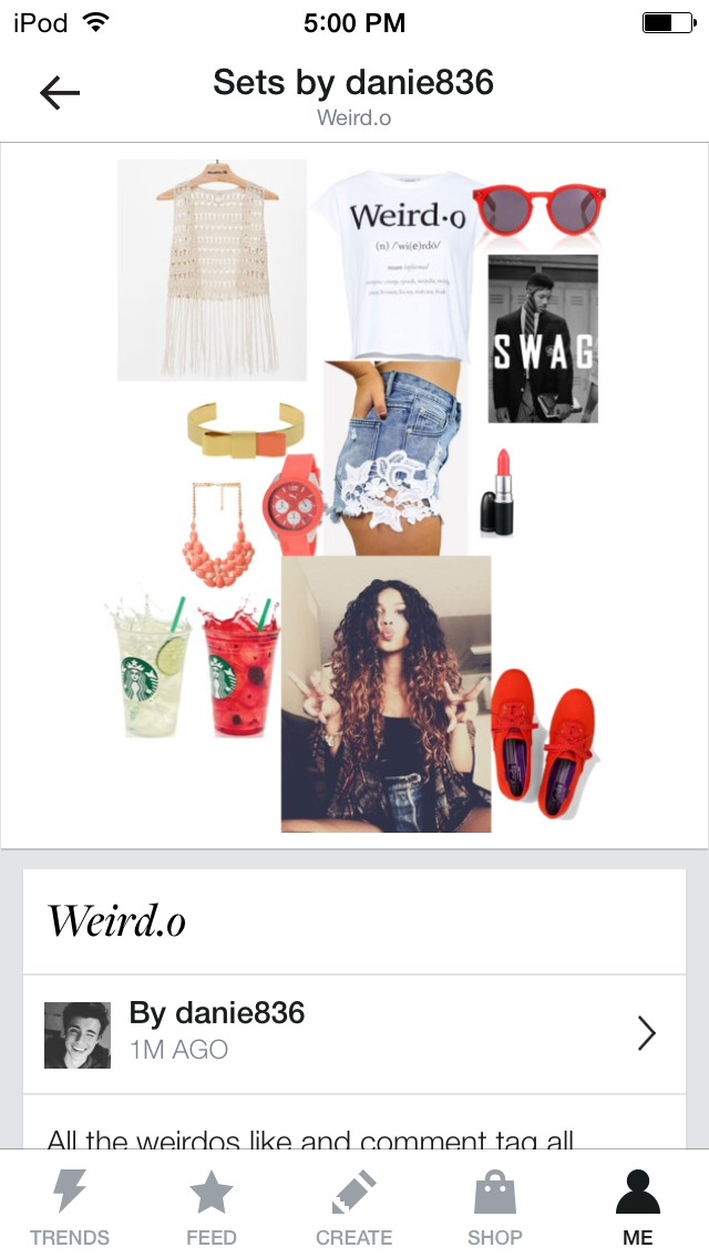 Meaning weirdo shirt with high waisted lace shorts curly hair, polka dot red keds, lace kimono jewelry, cute shades and STARBUCKS