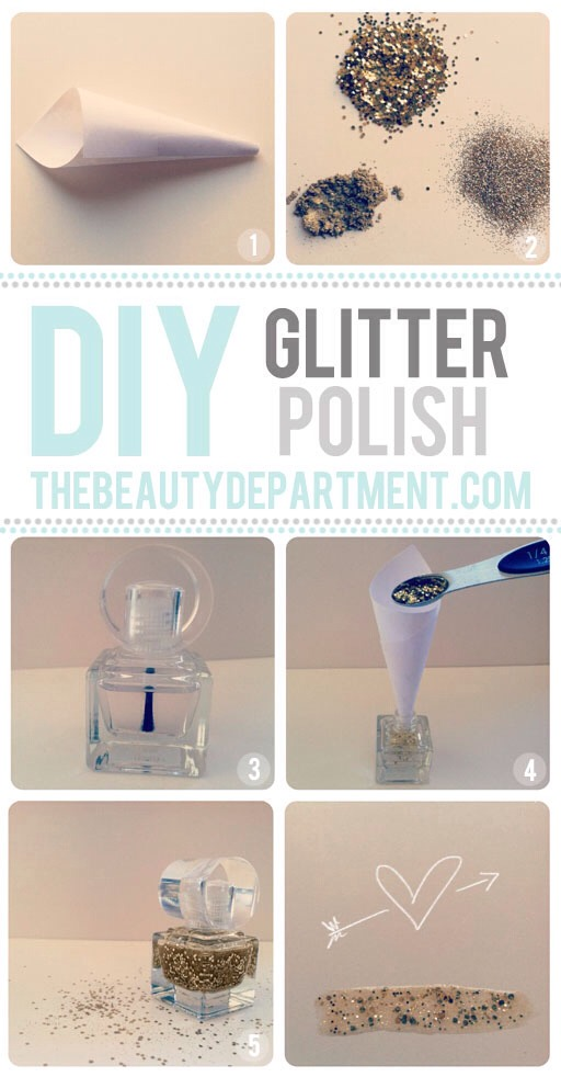 You can begin by making your own glitter nail polish. To do this, you will need a clear nail polish and the glitter of your selection.