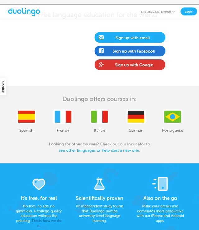 Duolingo is a website and app that's completely free and doesn't have ads. It's proven to be an effective way to learn a new language and it offers Spanish, French, German, Italian, and Portuguese.