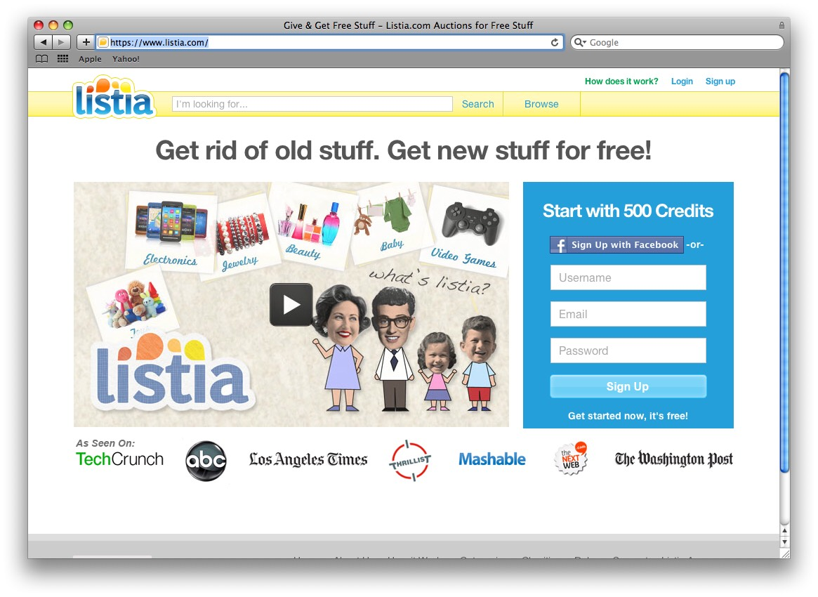 Listia is an amazing site with a free app on the android and apple market! You sign up and instantly get free credits. You can use these items to bid on items, essentially getting them for FREE!