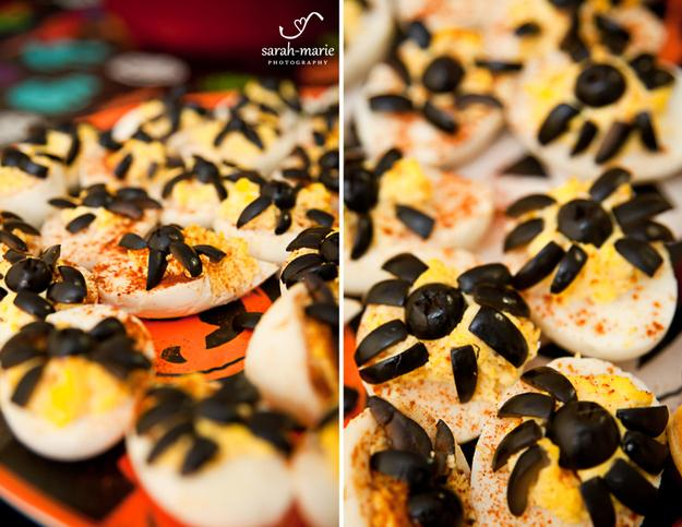 Spider Deviled Eggs  http://www.sheknows.com/food-and-recipes/articles/973723/spooky-spider-snacks