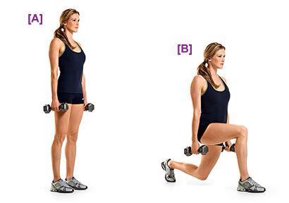 WEIGHTED LUNGES: the next step if you've been lunging. Step into, or pulse, a lunge keeping most of the weight on the front heel, making sure not to be up on the toes. Alternate for 20 total if walking or stepping out, or pulse ten on each leg up and down