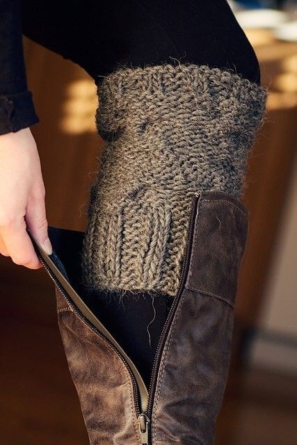 9. Repurpose An Old Sweater Sure, you can buy boot warmers. Or, you can get creative with an old sweater and make your own! It could be as simple as cutting off part of the sleeves. This way there's no sewing required.
