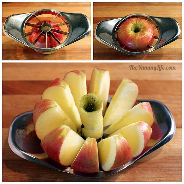 If you have an apple cutter I would say use that first then cut off the skin