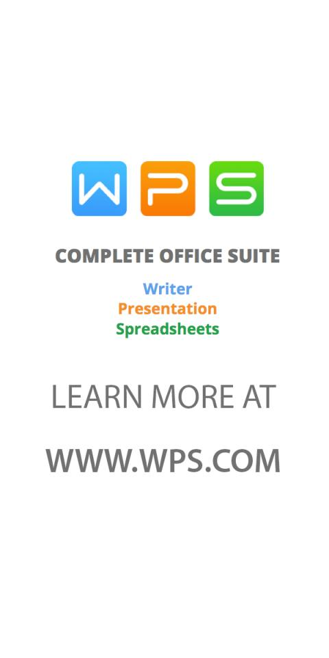 Get started today!    Download WPS Office - a FREE office suite for Android, iOS and Windows PCs - at http://bit.ly/1PtSY0i