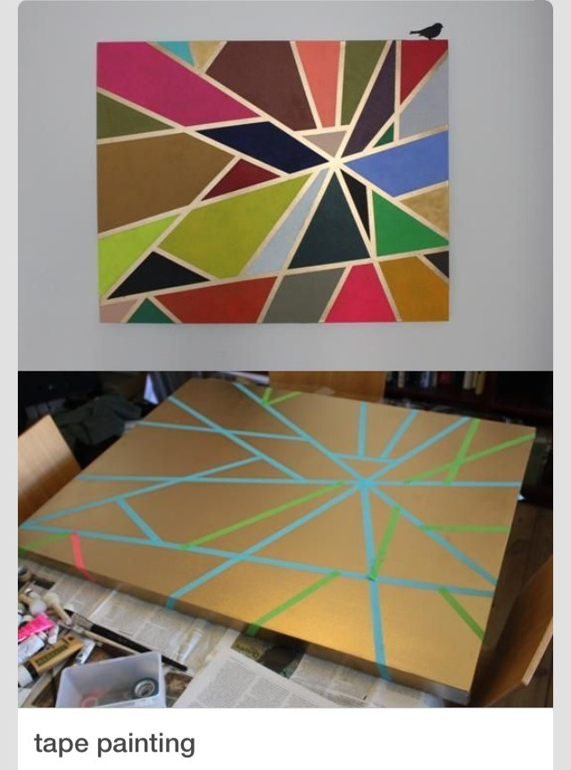 To get a rad painting of your own!  This one is painted gold first   Tape then paint the colors you'd like!