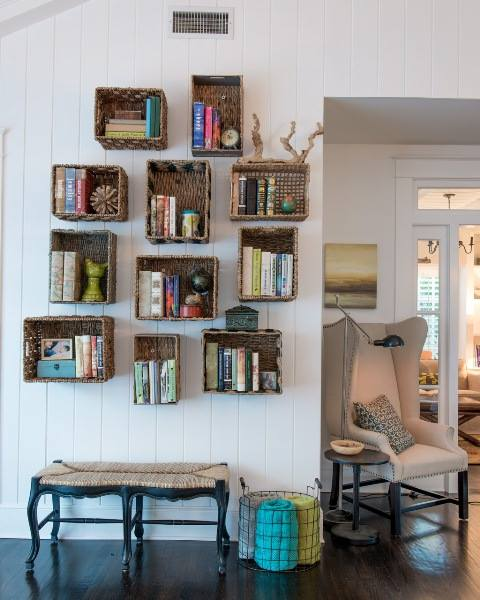 use gently baskets as shelving