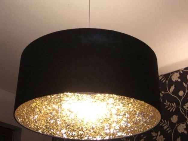 Spice up an ordinary light by adding a thick layer of glitter on the whole inside of the shade so when you turn on the light it create a glitter effect.
