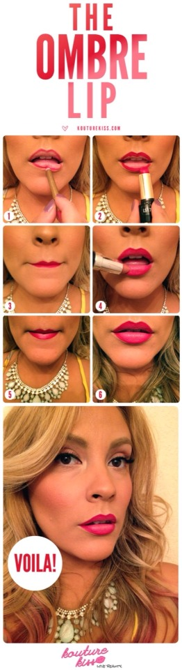 Start with a red lip liner, and top that with a red lipstick only on the outline of the lip. Next, add a nude lipstick in the center and rub the lips together to blend.