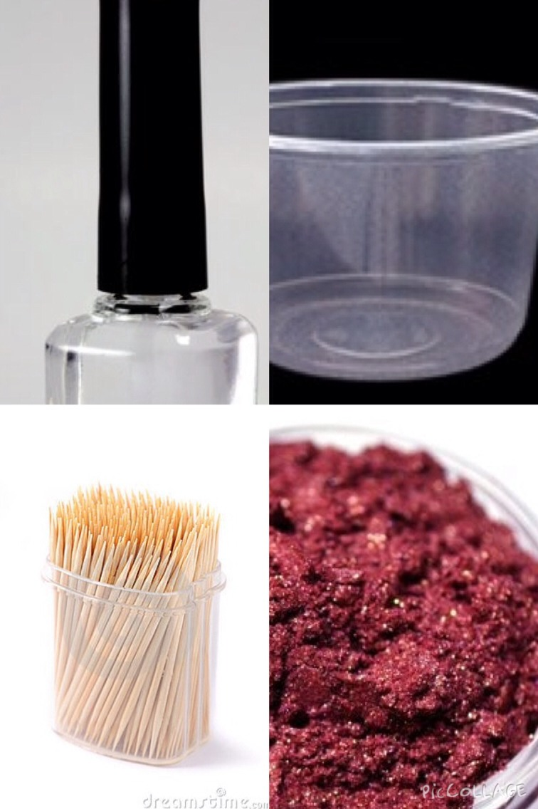 The 1st method is really simple and easy all you have to do is get a plastic  container which you don't mind ruining and pour a while bottle if clear nail polish in  it next take an eye shadow I prefer  mineral and tip it all in now grab a tooth pic and stir it around now tip it in the  bottle DONE