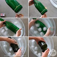 First removed the bottom of the bottle...it is surprisingly easy to do. You need string, nail polish remover and a lighter or light candle and a sink full of ice cold water and a file I just use a 180 grit nail file to file the rough edges:))