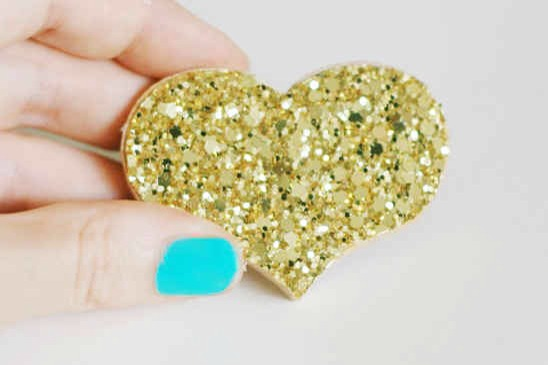 Add a glitter pin to your outfit! Jacket, shoes, anywhere you like