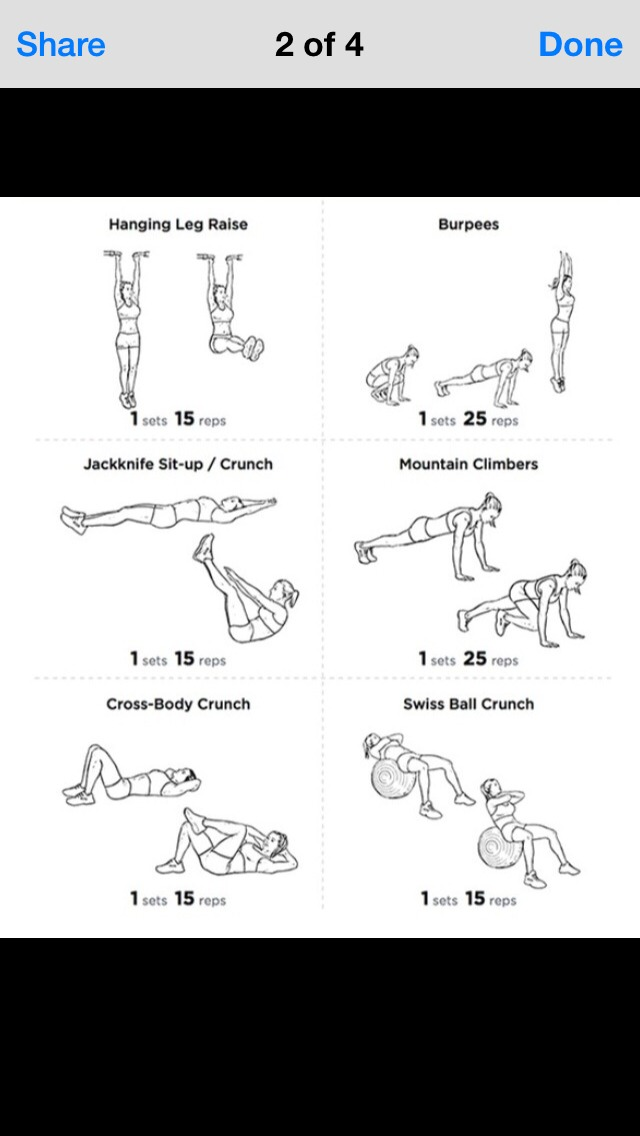 the pictures here pretty much explain how to do these exercises. the swish ball crunch can only be done with a big workout ball so you don't have to do it if you don't have one. it won't effect anything. :)