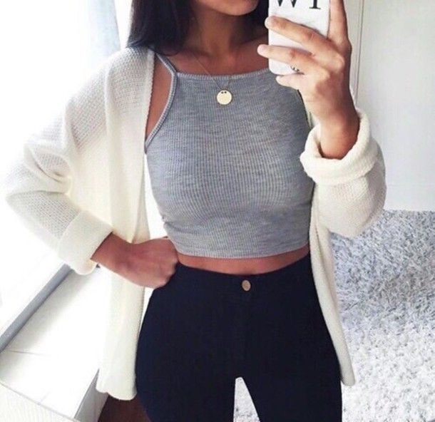 Style crop tops with any high-waisted bottom for a slimmer look.