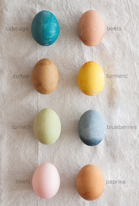 To dye your eggs GREEN: -3 cups chopped spinach -2 cups water -1 tablespoon salt -1 tablespoon vinegar