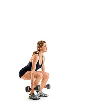50 squats with 15 pound Dumbbells in each hand