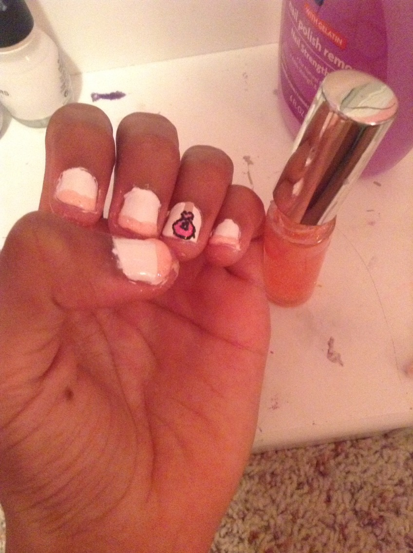 Take the sparkly pink and do a French tip on the other nails. I got mine from the dollar tree