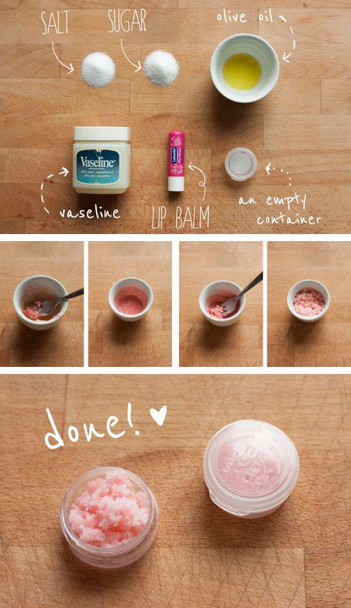 10. Make your own natural lip scrub to use more than once, or even give as gifts.