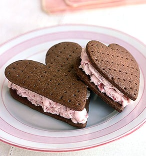 Then, you just cut it like a cookie then you have a heart shaped Ice cream sandwich!! ENJOY!