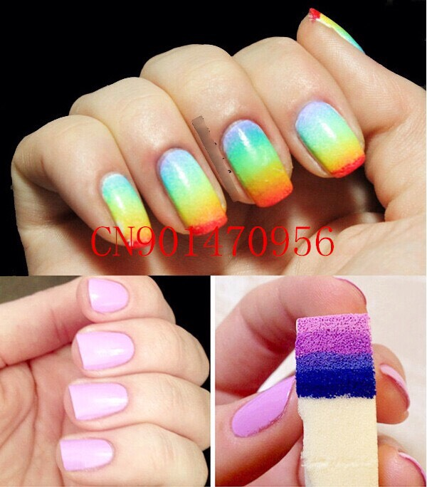 You take the colors of polish and paint them on to a sponge. And then you take the sponge and stamp it on to your nails.