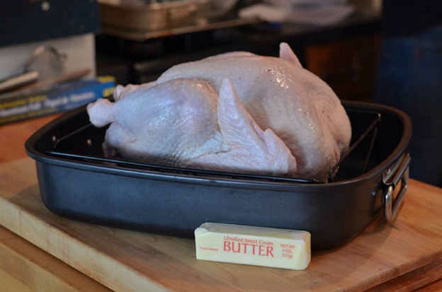 You don't let your turkey come to room temperature before roasting it.    Don't roast a cold turkey. Take your bird out of the refrigerator (and out of the brine, if you're brining) an hour before you put it in the oven to ensure even cooking and a moist bird.