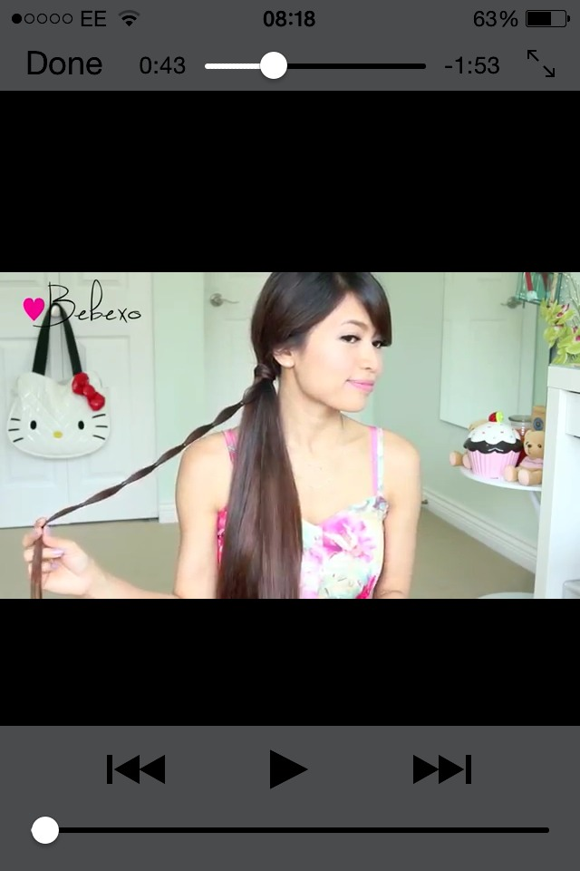 Just tie a basic side ponytail, Start of by taking a small section of hair from the front of your ponytail and adding an elastic band every one inch down