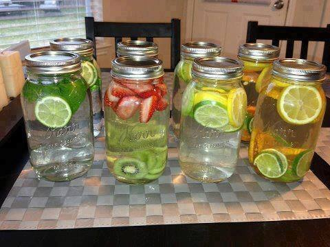 Mason jars are a great way to store your waters for the day and BPA free!