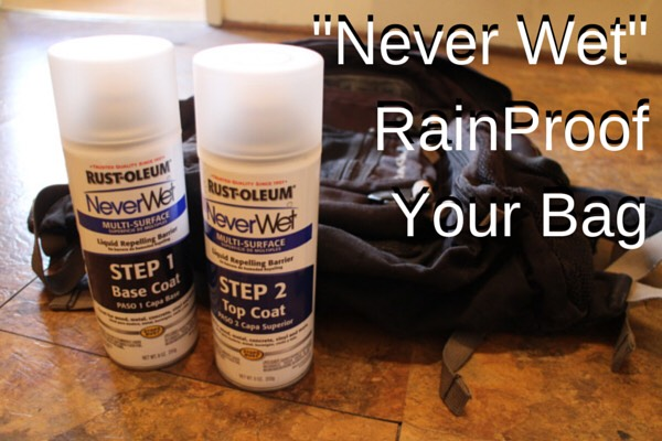 "Spray ""Never Wet"" onto a bag to water-proof it!"