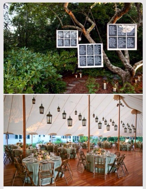 Great idea:  Suspended windows for a seating chart.