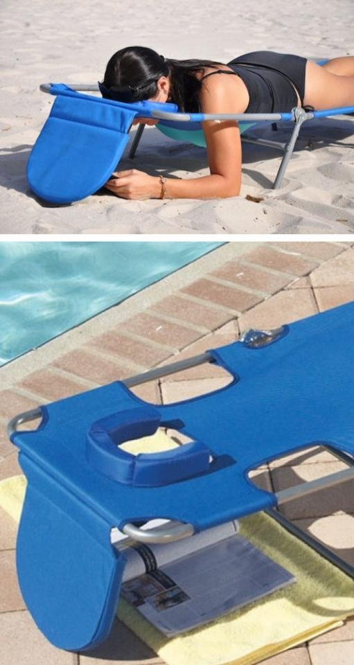 2. Easy-Read Lounge Chair With this Easy-Read Lounge Chair, you can relax by the pool or beach while keeping your face, book, iPad, and phone out of the sun. You might as well put a drink and straw down there while you're at it so you don't have to be bothered with getting up.
