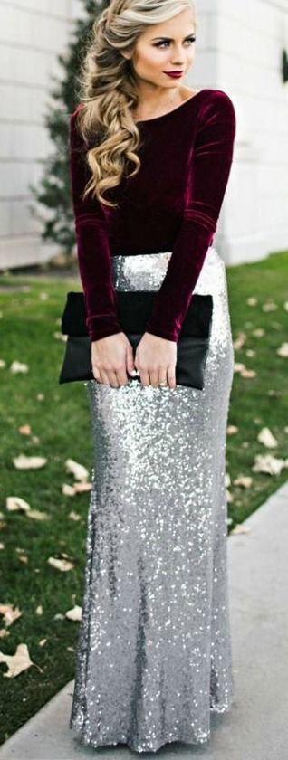 Items: 1.) Maroon Velvet Long Sleeved Crop Top or Shirt 2.) Long Flowy Silver Sequin Skirt 3.) Black Velvet Clutch