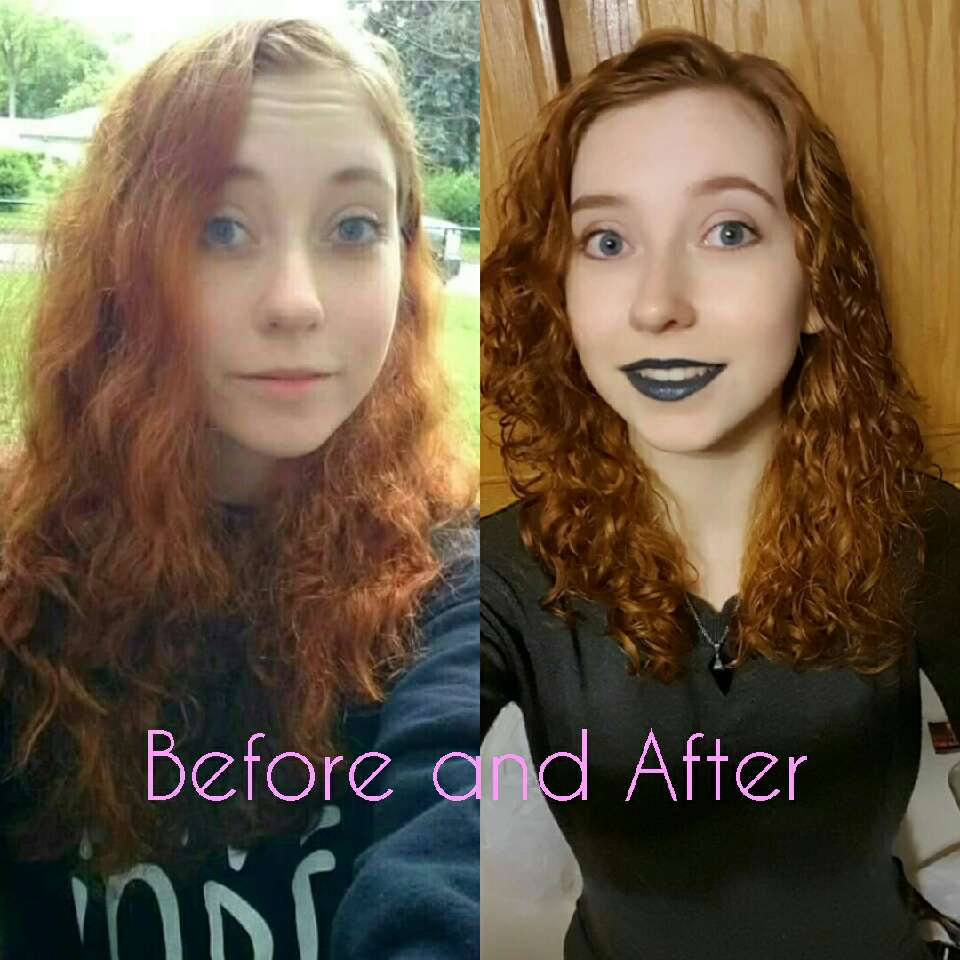 This is me before and after starting this method. My hair looks even better now than when I first started. As you can see, in the first photo my hair is a frizz ball and in the second I have defined, frizz free curls/waves.