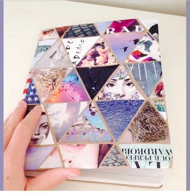 Decorate your school notebook by printing images off the internet and gluing them on