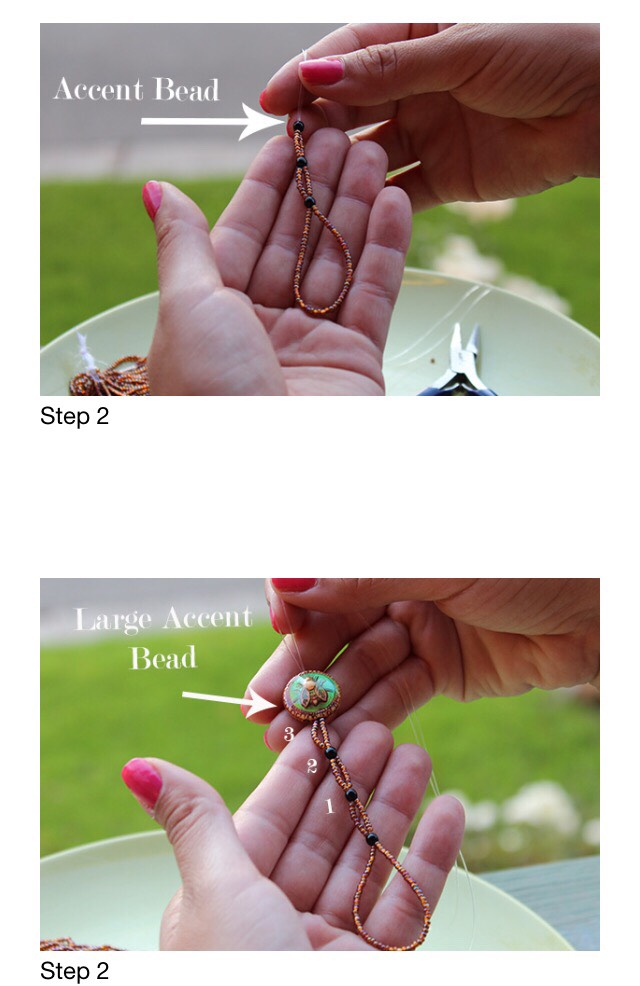 Add nine seed beads to each end of the jewelry cord, then string both ends through another accent bead, creating a second bead-stopper. Repeat three times and on the third time add a large accent bead. Repeat the process one more time and add the last small accent bead as the final bead-stopper.