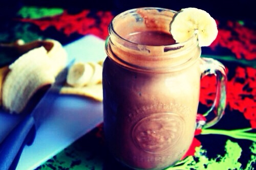 Banana, Peanut Butter & Chocolate Protein Smoothie!!