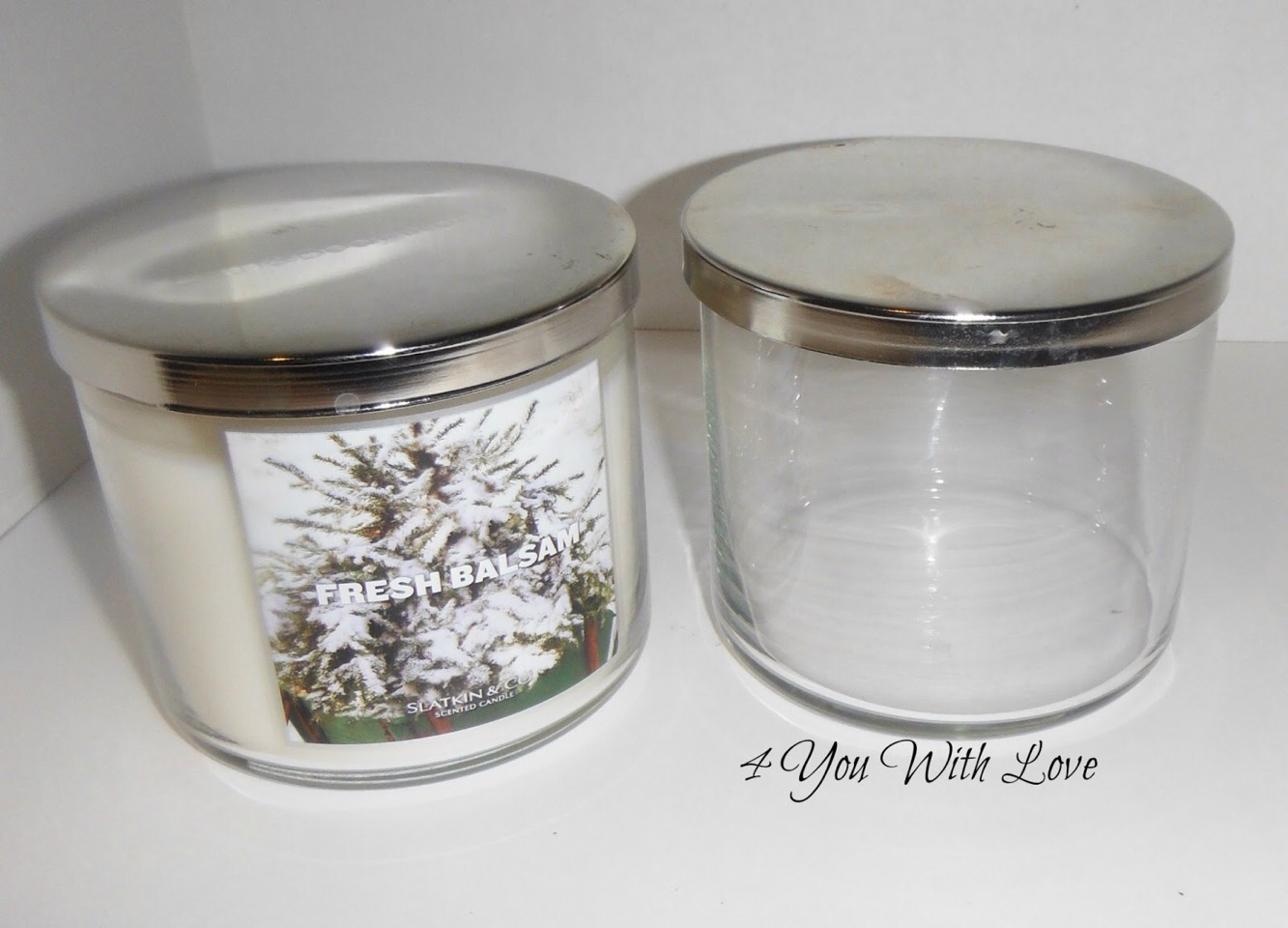 Empty out the remaining wax in your candle. My favorite way is to put the jars in boiling water, wait for it to melt away and dump the wax into a ziploc for disposal. Wipe down the jar afterwards.