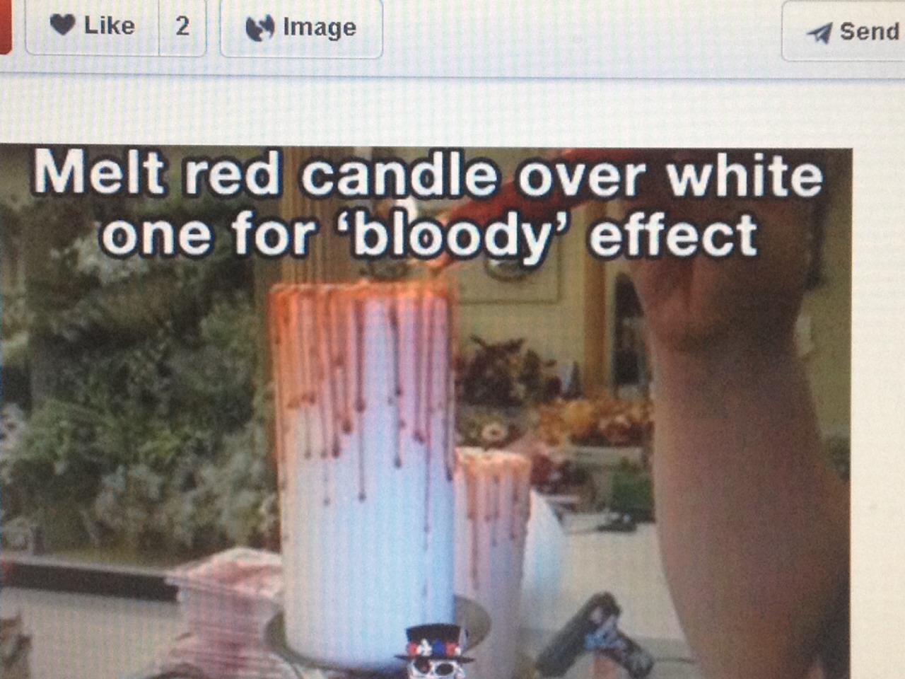 Melt red candle over white candle for bloody effect!
