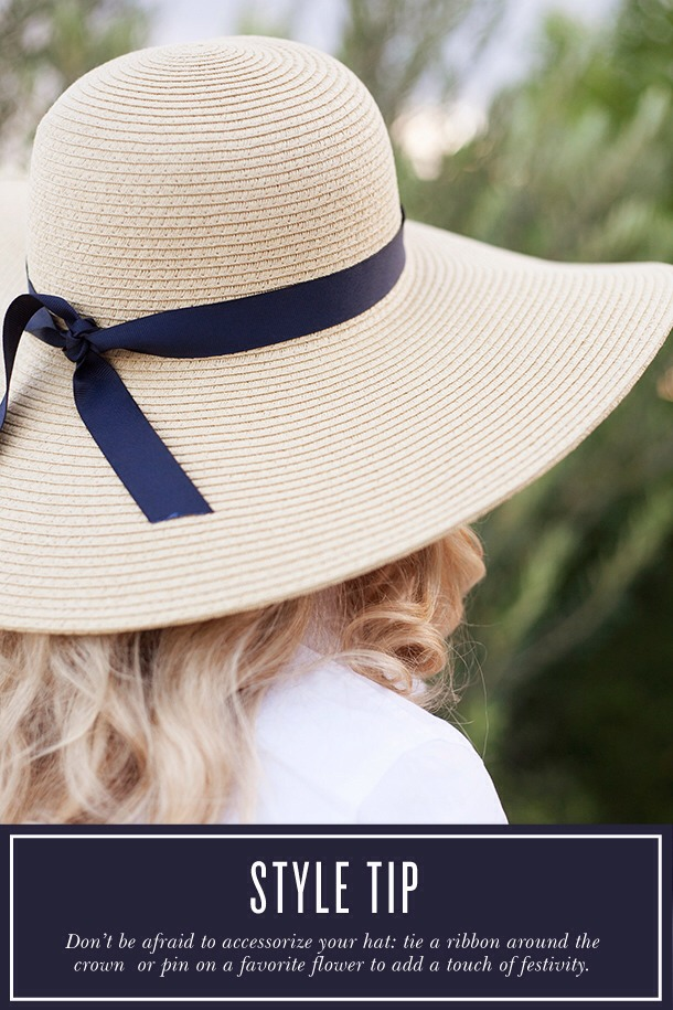 3. Make your hat your own by tying a fun ribbon around it.