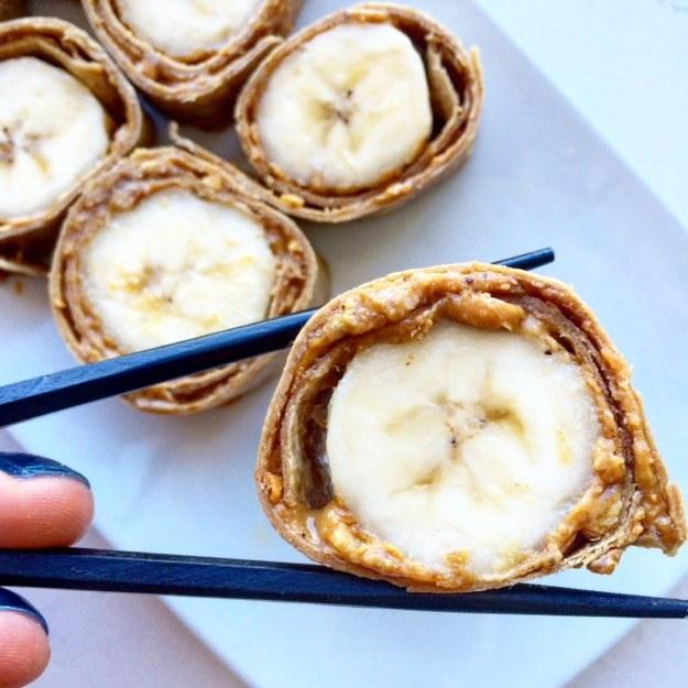 "12. Peanut Butter and Banana ""Sushi""  https://www.facebook.com/BuzzFeedHealth/videos/1039084379477511/"