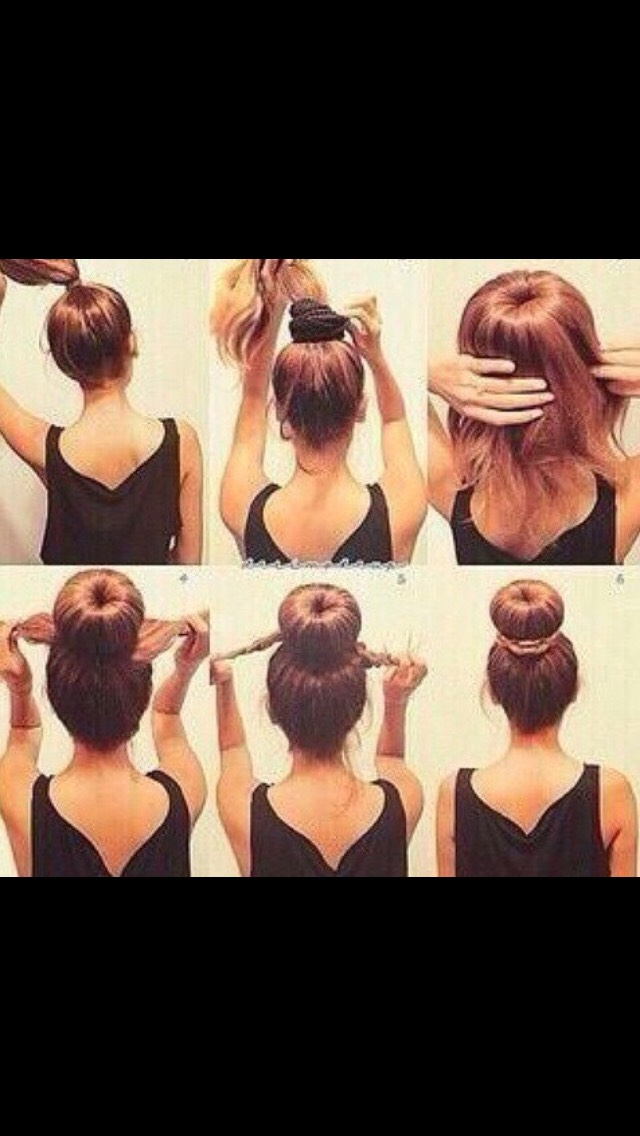 Ponytail> Followed By Scrunchie> Let Hair Fall (Fix So Scrunchie Doesn't Show)> Rap Another Hair Tie> Twist Left Over Ends> Rap Around Bun> Finish Up By Pining The Twisted Hair ...