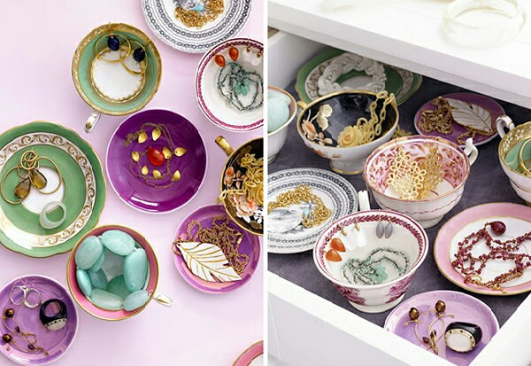These beautiful china bowls and plates look pretty for storing and organizing your jewelry collection.