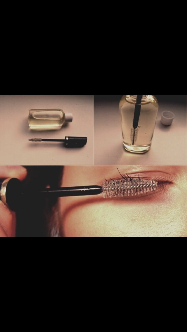Wash an old mascara or nail polish container and fill with: 1/4 of the container with castor oil, 1/2 vitamin E oil, 1/4 aloe vera gel. Mix together as well as you can with your mascara wand, and apply a light layer to lashes every night before bed. After one week, you'll notice longer lashes!