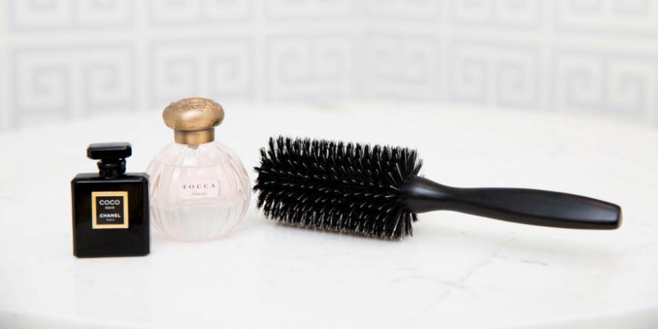 8. Spraying an alcohol-based fragrance directly onto your hair will dry it out, so instead spray the fragrance on your brush before running it through your hair. Your hair will be lightly scented and undamaged.